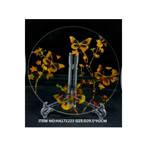 Plato de cristal redondo transparente con mariposas doradas de 34x 3cm