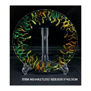 Plato de cristal redondo transparente con líneas onduladas doradas de 34.5x 2.5cm