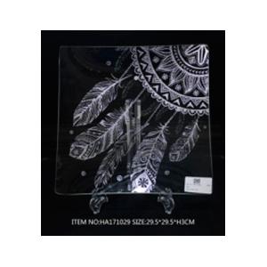 Plato de cristal cuadrado con diseño de atrapa sueños plata de 34.5x34.5x2cm