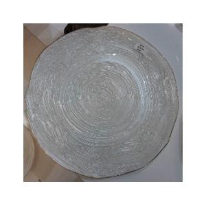 Plato de presentacion de cristal blanco con filo dorado de 33cm