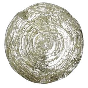 Plato de presentacion de cristal blanco con filo plata de 33cm