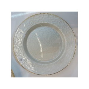 Plato de presentacion de cristal blanco c/grabado y orilla dorada de 33cm