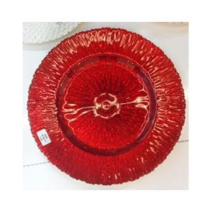 Plato de presentacion de cristal con textura en color rojo de 33cm