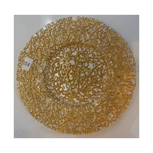 Plato de presentacion de cristal diseño raíces doradas de 33cm