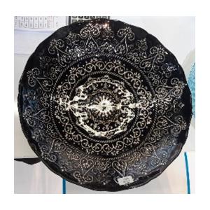 Plato de presentacion de cristal negro con diseño en plata de 33cm