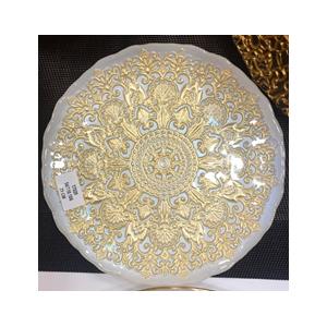 Plato de presentacion de cristal blanco con grecas doradas de 33cm