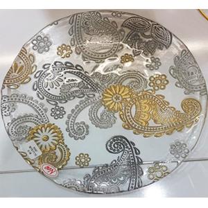 Plato de cristal con diseño flores doradas y plata de 32cm