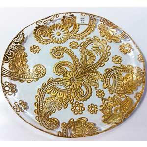 Plato de cristal con diseño flores doradas de 32cm