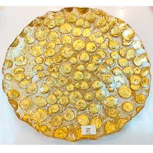 Plato de cristal con diseño de círculos dorados de 32cm