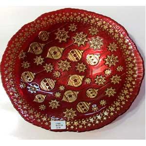 Plato de cristal rojo con diseño de esferas doradas de 32cm