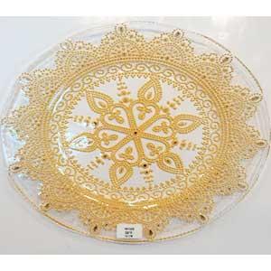 Plato de cristal con grabado dorado de 32cm