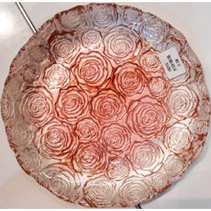 Plato de cristal diseño rosas blancas con rojo de 28cm