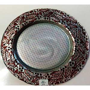 Plato de cristal con orilla de nochebuenas plata con rojo de 33cm