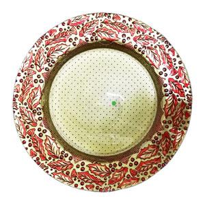 Plato de cristal con orilla de nochebuenas dorado con rojo de 33cm
