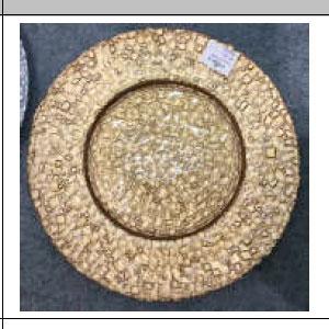 Plato de presentación de cristal dorado diseño cocodrilo de 33cm