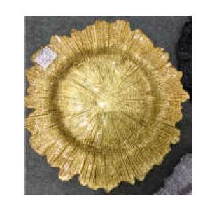 Plato de presentación de cristal dorado diseño hoja de 35cm