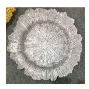 Plato de presentación de cristal plata diseño hoja de 35cm