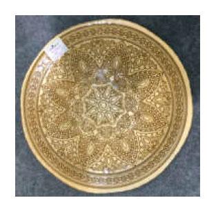 Plato de presentación de cristal dorado con grabado de 33cm