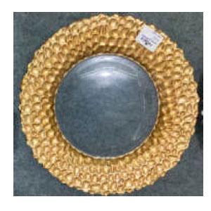 Plato de presentación de cristal dorado con grabado en la orilla dorado de 33cm