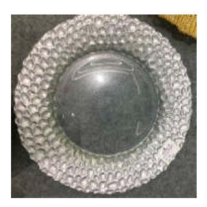 Plato de presentación de cristal plata con grabado en la orilla dorado de 33cm