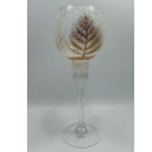 Florero de cristal Biselado diseño copa con estampado de árbol dorado de 13x30cm