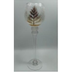 Florero de cristal Biselado diseño copa con estampado de árbol dorado de 13x35cm