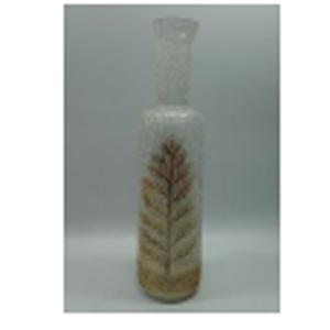 Florero de cristal Biselado diseño botella con estampado de árbol dorada de 41x41x37cm