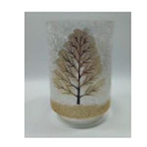 Florero cilíndrico de cristal Biselado con estampado de árbol dorado de 13x19cm