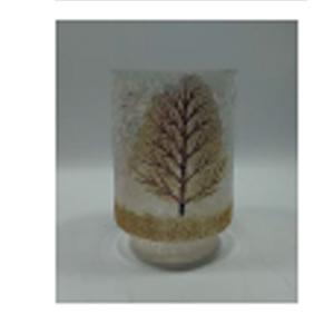 Florero cilíndrico de cristal Biselado con estampado de árbol dorado de 10x15cm