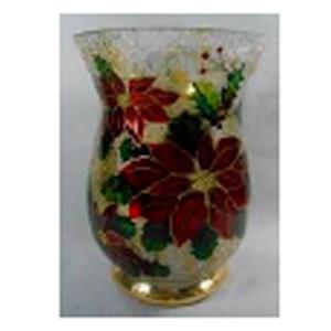 Florero de cristal Biselado con estampado de Nochebuena de 15x20cm
