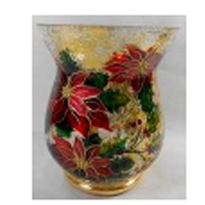 Florero de cristal Biselado con estampado de Nochebuena de 13x15cm