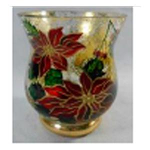 Florero de cristal Biselado con estampado de Nochebuena de 8x.95cm