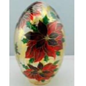 Huevo de cristal con estampado de Nochebuena con luz led (usa baterias AA) de 18x29cm