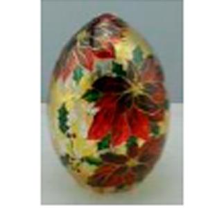 Huevo de cristal con estampado de Nochebuena con luz led (usa baterias AAA) de 12.5x18cm