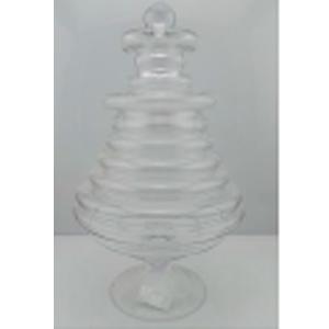 Bombonera de cristal diseño rayas de 20.5x34cm