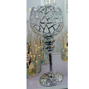 Copa de cristal diseño craquelado de 13x30cm