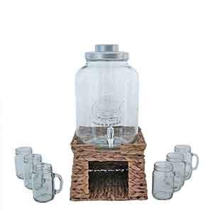Despachador en base de 11 litros con recipiente para hielo y 6 tarros