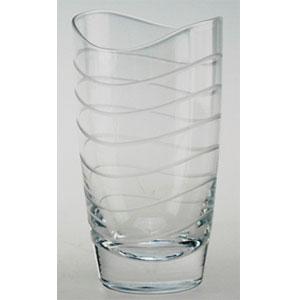 Juego de 6 vasos con lineas onduladas de 8x14cm