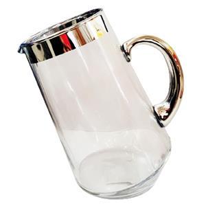 Jarra de cristal transparente con orilla plateada de 13x17.5x21cm