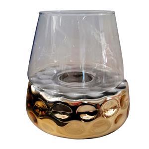 Candelabro de cristal diseño panal dorado con pantalla transparente de 27x27x26cm