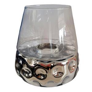 Candelabro de cristal diseño panal plata con pantalla transparente de 27x27x26cm