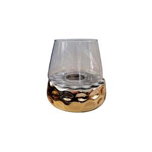 Candelabro de cristal diseño panal dorado con pantalla transparente de20x20x20cm