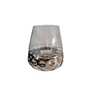 Candelabro de cristal diseño panal plata con pantalla transparente de 20x20x20cm
