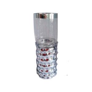 Candelabro cilíndrico diseño diseño panal plata con pantalla transparente de 13x13x35cm