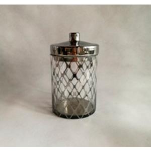Bombonera de cristal con tapa diseño rombos en plata de 15x15x26cm