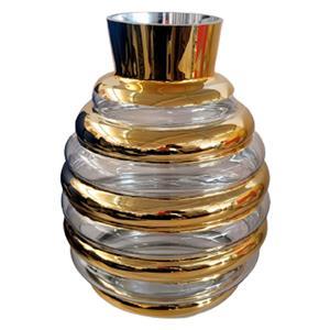 Florero de cristal diseño panal con líneas doradas de 24x24x32cm