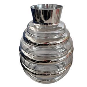 Florero de cristal diseño panal con líneas plateadas de 24x24x32cm