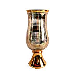 Florero y/o candelabro de cristal diseño copa con líneas doradas de 20x20x53cm
