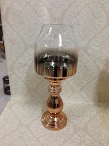 Candelabro de cristal transparente degradado a dorado de 46cm
