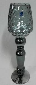 Candelabro diseño copa color humo c/grabado de 49cm